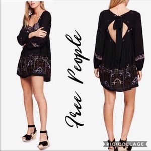 Free People Rhiannon embroidered black dress